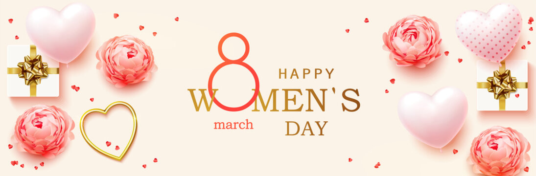 8 March. Women's Day horizontal banner for the website. Postcard on March 8. Romantic background with realistic design elements, gift box, golden hearts, balloons in the shape of heart and flowers