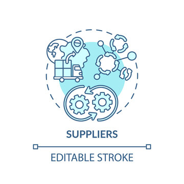 Suppliers concept icon. Co-creation participant idea thin line illustration. Distributor, vendor. Supplying goods to another organization. Vector isolated outline RGB color drawing. Editable stroke