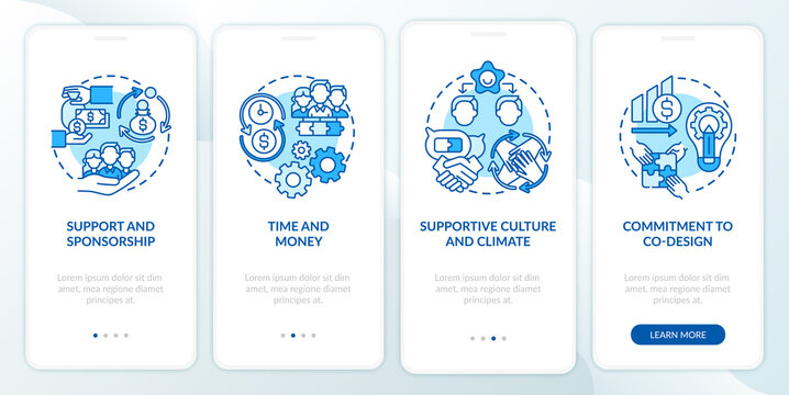 Conditions for co-design onboarding mobile app page screen with concepts. Support, supportive culture walkthrough 4 steps graphic instructions. UI vector template with RGB color illustrations
