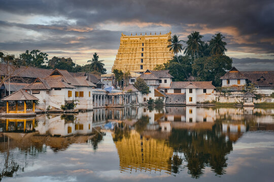 Sree Padmanabhaswamy temple at sunset, Thiruvananthapuram city, Kerala, India