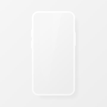 Smartphone blank screen, white phone mockup. Template for infographics for presentation UI design interface. Realistic object. Vector illustration.