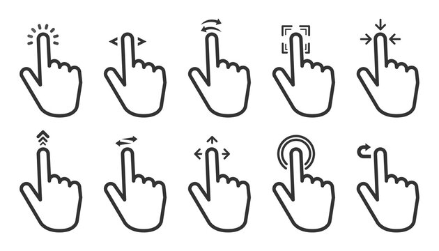 Hand Gesture Swipe big collection icons on white background. Vector illustration.