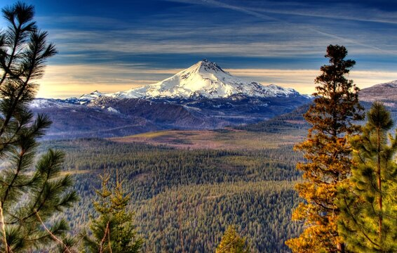 View of Mt Jefferson in the cascades near Sisters in central Oregon