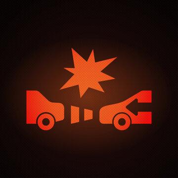 Lane keeping assist system warning light sign on car dashboard vector illustration.