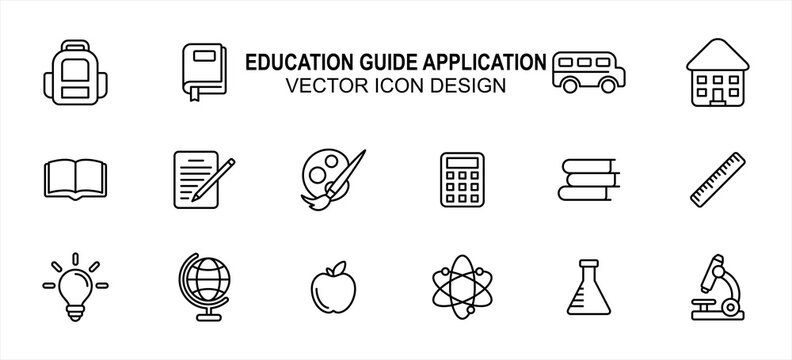 Simple Set of school education Vector icon user interface graphic design. Contains such Icons as backpack, book mark, school bus, writing, painting, light bulb, globe, atom, chemistry, microscope