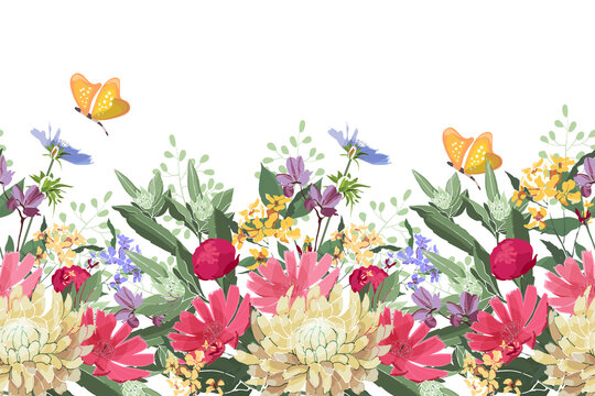 Vector floral seamless border. Summer flowers, green leaves. Chicory, mallow, gaillardia, marigold, oxeye daisy, peony. Red, yellow, blue flowers and buds, yellow butterflies on a white background.