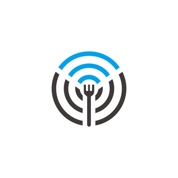 spoon fork free wifi restaurant symbol vector
