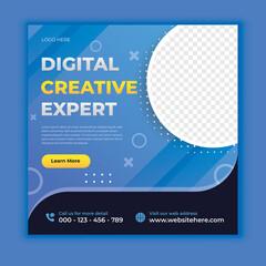 Wall Mural - Digital business marketing social media banner or square flyer
