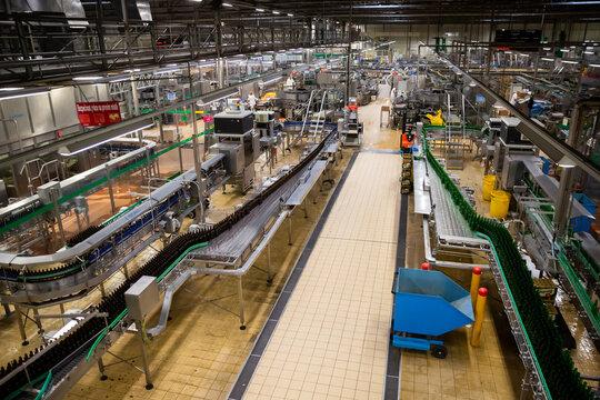 PILSEN, CZECH REPUBLIC - OCTOBER 10, 2019: Pilsner Urquell brewery, beer production department of bottling