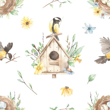 Watercolor seamless pattern with nest with eggs, birdhouse, titmouse, spring flowers, branches, spring greenery on a white background