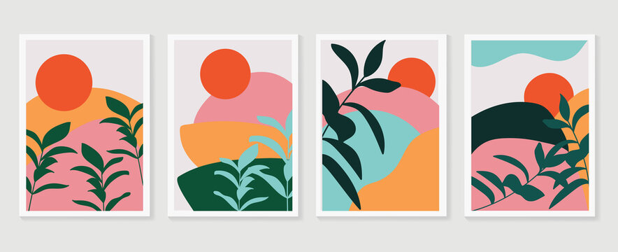 Botanical and landscape watercolor wall art vector set. Earth tone background foliage line art drawing with mountain and sun. Abstract Plant Art design for wallpaper, Canvas prints and Home decor.