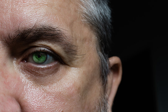 close up of an eye and right side of a man's face