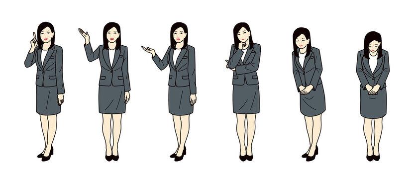 スーツ姿の女性 / 指さし・お辞儀セット