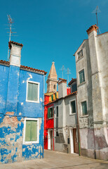Fototapete - Old residential house in  Burano island, Venice, Italy.