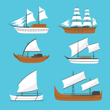 Vector flat sailing boat, ship icon, set. Old wooden ship with white sails. Phinisi ship, Barqque Sadov ship, Patorani ship, Travel by sea transport, traditional asian marine vessel.