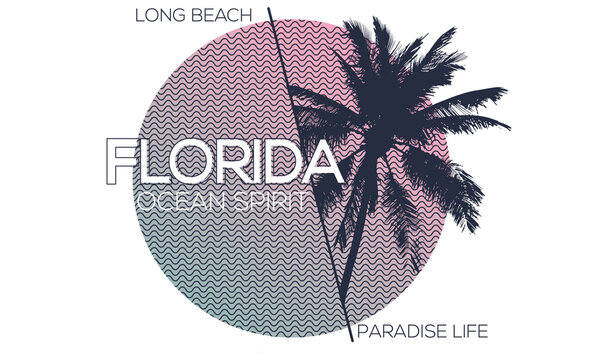 Florida long beach vector design for tee, apparels  fashion & others