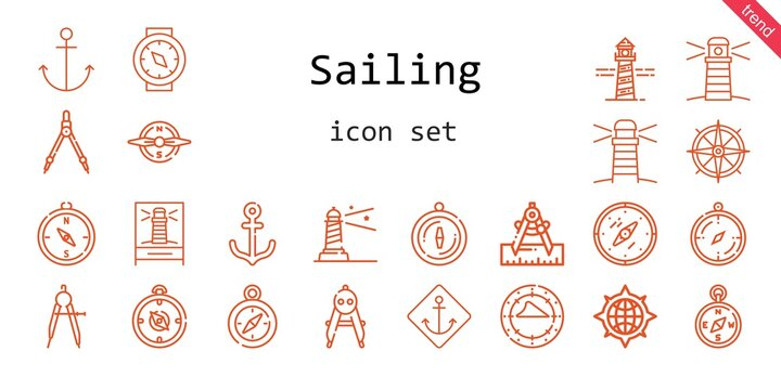 sailing icon set. line icon style. sailing related icons such as lighthouse, compass, anchor,