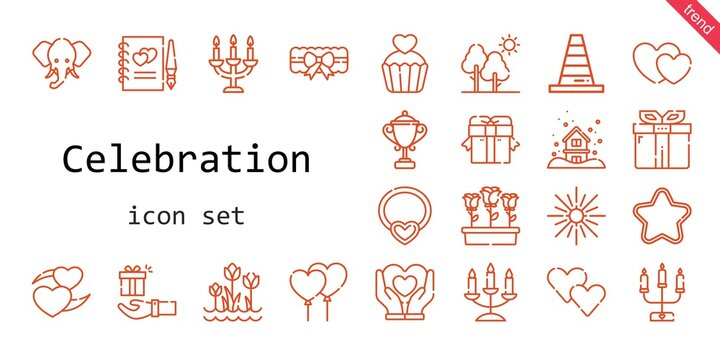 celebration icon set. line icon style. celebration related icons such as gift, flowers, star, balloons, garter, tree, necklace, snowing, cone, heart, guests book, tulips, candelabra, hearts, trophy
