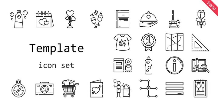 template icon set. line icon style. template related icons such as love, branding, wiping, menu, sketchbook, photo camera, dinner, square, detergent, badge, pizza, compass, tshirt, shopping cart