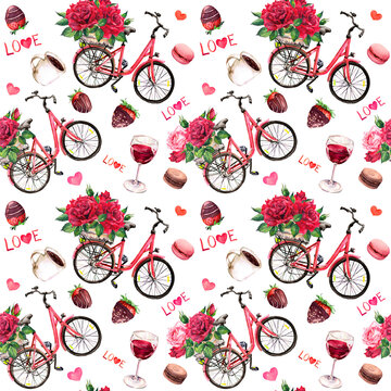 Valentine day seamless pattern. Vintage bicycle with red roses bouquets, hearts, chocolate candies, strawberries, wine glass, text Love. Watercolor flowers, sweets