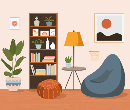 Comfortable chair, bookcase and house plants. Living room. Vector flat  cartoon illustration.