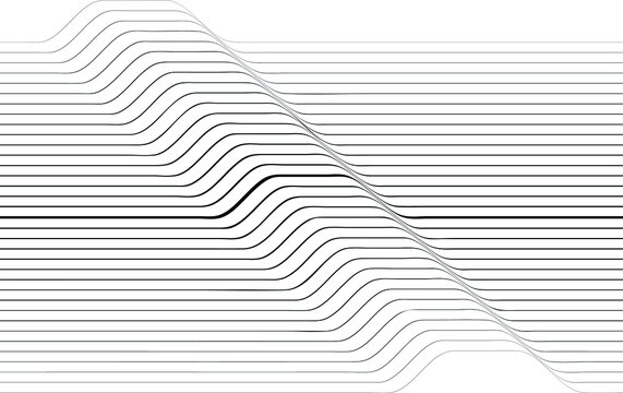 Abstract flow lines background . Fluid wavy shape .Striped linear pattern . Music sound wave . Vector illustration