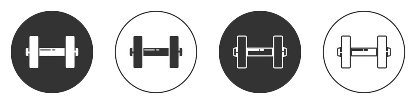 Black Dumbbell icon isolated on white background. Muscle lifting icon, fitness barbell, gym, sports equipment, exercise bumbbell. Circle button. Vector Illustration.