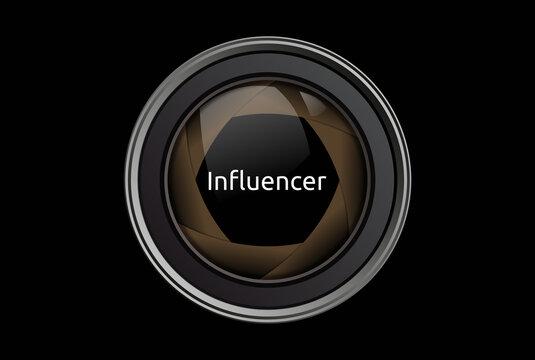 Influencer. Text im Fokus. Isoliert freigestellt vor schwarzem Hintergrund.