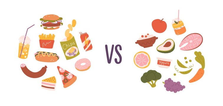 Healthy vs unhealthy food. Concept of choice between good and bad nutrition. Fastfood, sweet and fat eating versus balanced product set. Colored flat vector illustration isolated on white background