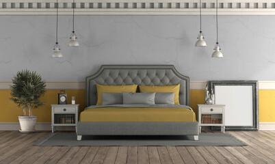 Gray and yellow master bedroom in retro style - fototapety na wymiar