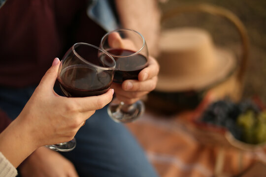 Man and woman hands are holding glasses with red wine. Picnic date in the summer.