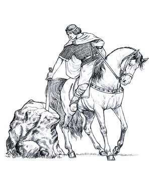 King Arthur with excalibur. Mounted knight of camelot. Pencil drawing.