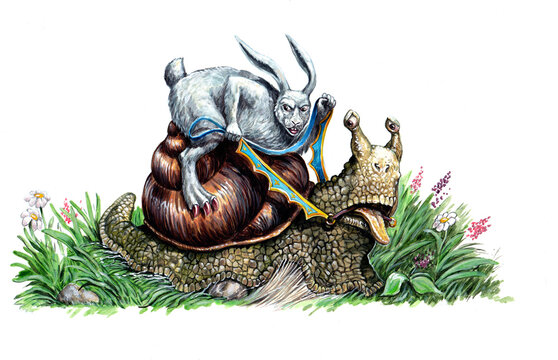 Rabbit and the snail. Race on a snail. Illustration for the fairy tale.