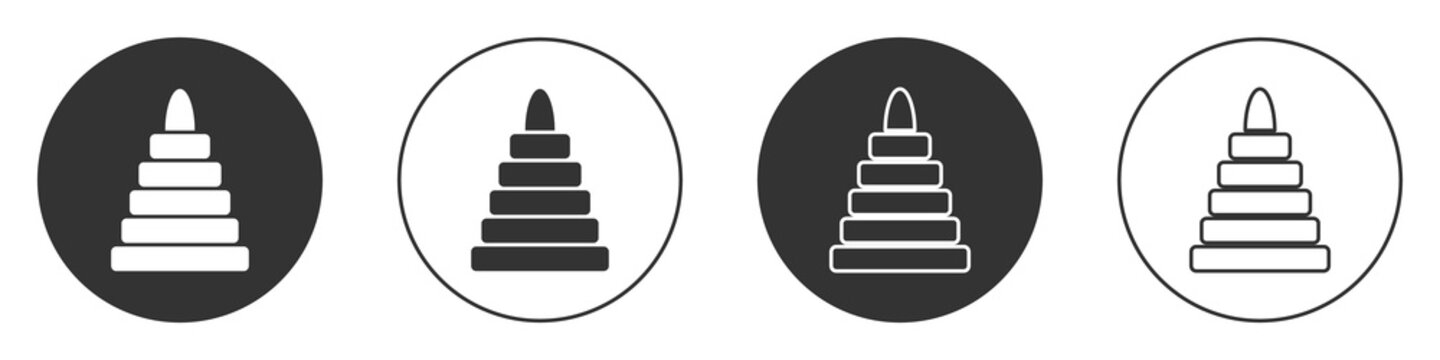 Black Pyramid toy icon isolated on white background. Circle button. Vector.