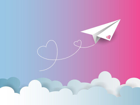 Valentine's day greetin card,background. Flying paper airplane with dotted air route in heart. Hearted airplane path, flight air trace ,White plane with a clouds on a pink background.vector in EPS 10.