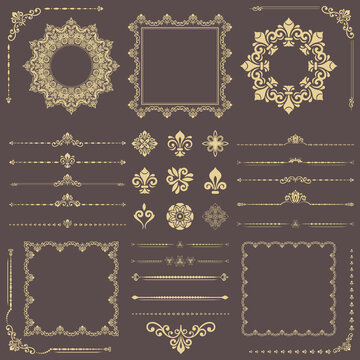 Vintage set of horizontal, square and round golden elements. Different elements for backgrounds, frames and monograms. Classic patterns. Set of vintage patterns