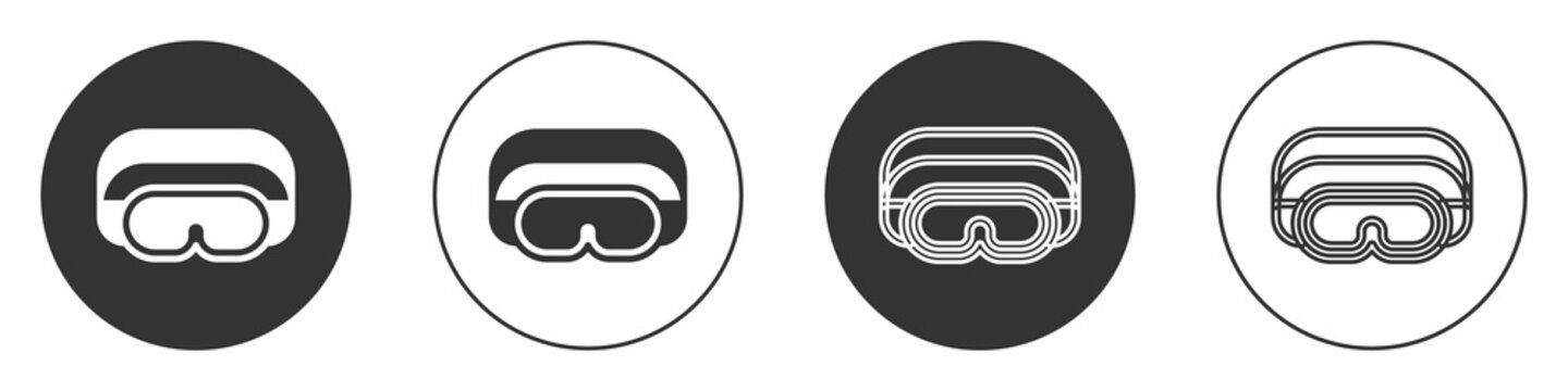 Black Ski goggles icon isolated on white background. Extreme sport. Sport equipment. Circle button. Vector.