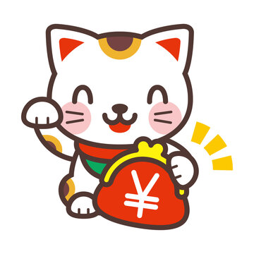 Beckoning cat and coin purse 財布を持った招き猫
