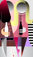 Two beautiful young women drink soda. Vector illustration of modern art. Portrait of fashionable girls with soda bottles in their hands.