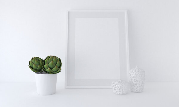 3D rendering of a blank frame mockup next to a potted plant leaning against a white wall