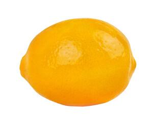 One natural lemon isolated on white background.