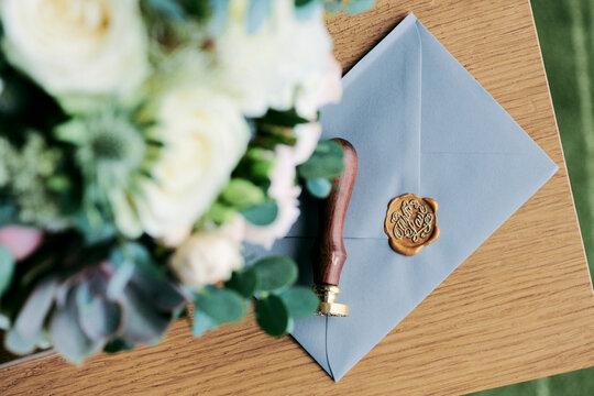 Einladung zur Hochzeit mit Wchs Stempel Siegel auf dem Breif