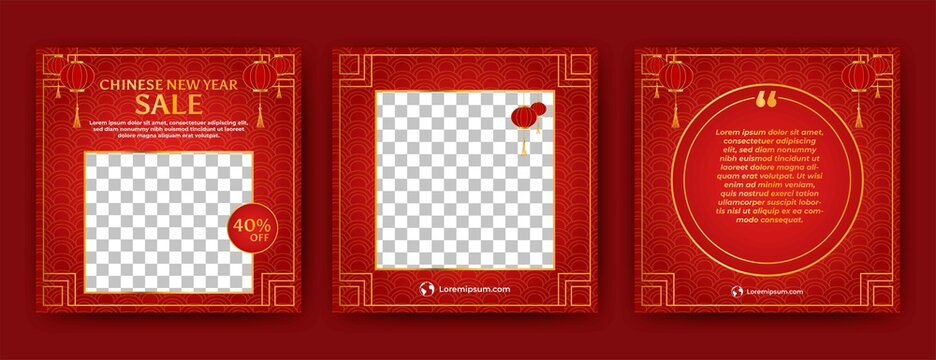 Set of Editable square banner template. Chinese new year social media post template with lantern decoration. Flat design vector with photo collage. Usable for social media, banner and web internet ads