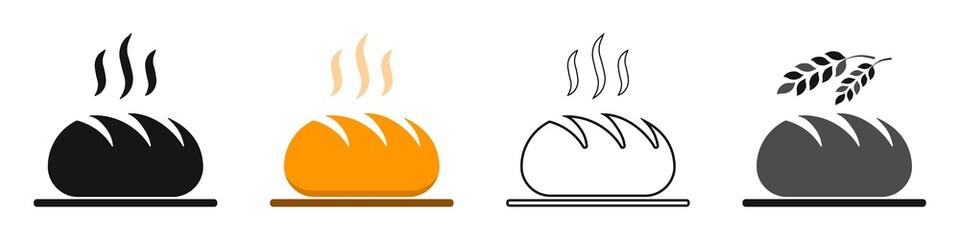 Obraz Freshly baked bread vector set. Fresh loaf of bread, bakery icon, logo for bread shop - fototapety do salonu