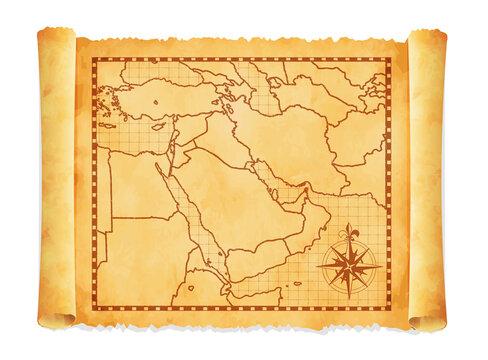 Old vintage middle east ( western asia ) map vector illustration.