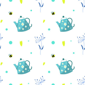Blue kettle seamless pattern with bee and flowers on white background. Retro tea background. Hand drawing chamomile. Illustration for wrapping paper, textile, fabric, etc