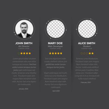 Testimonial reviews section layout template - dark version