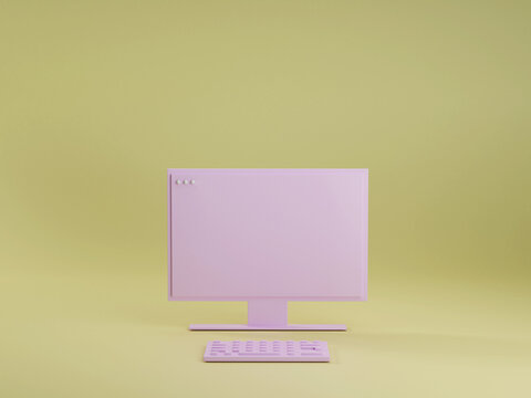 Pink pc computer with keyboard on yellow studio background. Technology concept 3d render. Modern home office workstation. Minimal style.