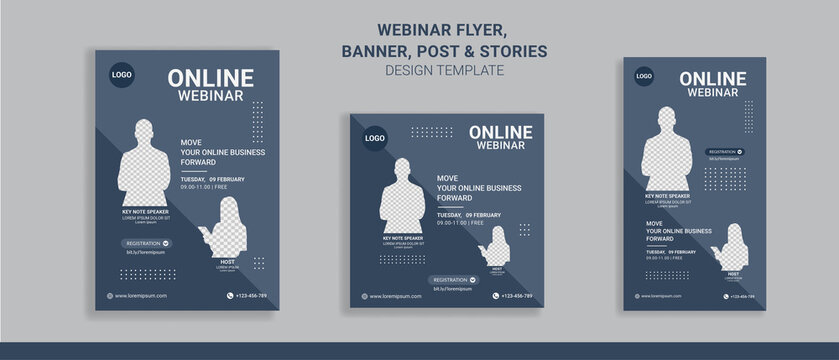 Webinar flyers social media post and stories, perfect for business webinar, creative webinar and other online seminars