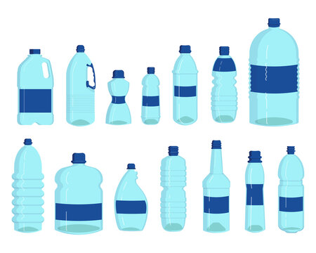 Bottles of water set. Plastic containers for liquid, transparent drink flasks, liter isolated on white. Vector illustrations for pure water consumption, packaging and storage recycling concept